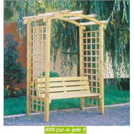 Pergola de jardin ARCADE en bois avec banc