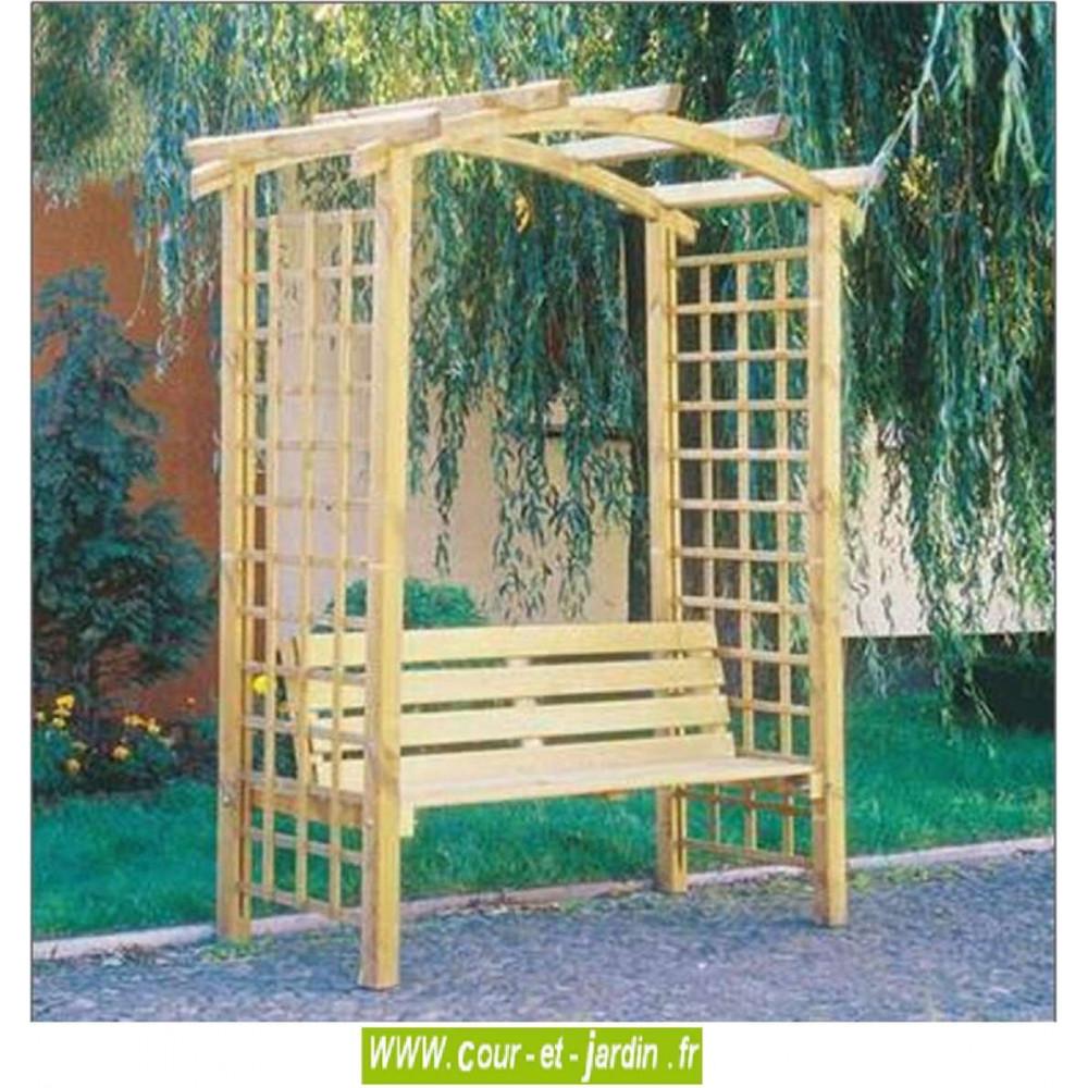 pergola de jardin arcade en bois avec banc arche de. Black Bedroom Furniture Sets. Home Design Ideas