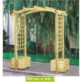Pergola de jardin ARCADE en bois avec 2 jardinières