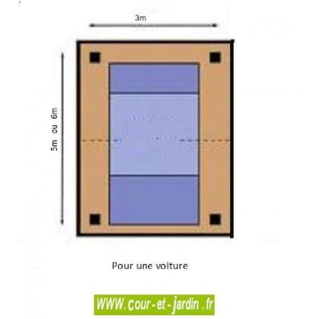 abri voiture carport bois 1 voiture en charpente traditionnelle en kit. Black Bedroom Furniture Sets. Home Design Ideas