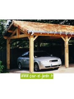 Charpente en kit traditionnelle en pin - Ce carport bois 6x5m ou 6x6m fat partie de la série des abris voiture en kit de CIHB
