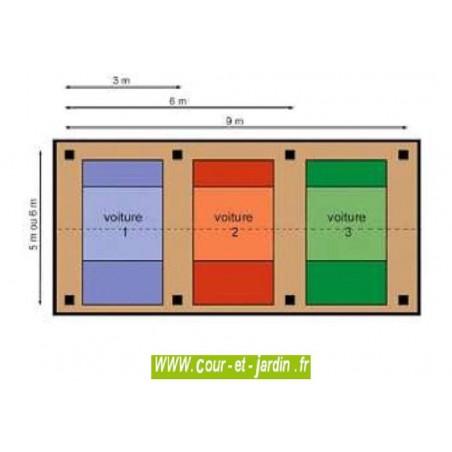 Abri / Carport 3 voitures en bois, 9x5m ou 9x6m en Charpente traditionnelle