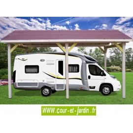 Carport Camping car AR 3560 BM CC en bois. Cet abri pour camping car ou abri caravane de 400 x 630 (cm) est de Habrita / Foresta