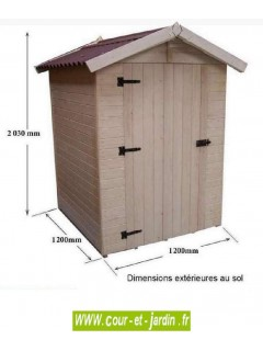 Abri Eden ED1212.01 en bois - dimensions extérieures au sol