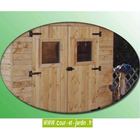 Petit abri jardin bois Eden ED 2416.01B + Bûcher. Ces abris de jardins sont en bois non traité