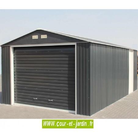 Garage métal grande hauteur à porte sectionnelle - Surf. ext.19.95 m²