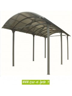 Carport camping car aluminium (362x760) toit polycarbonate 1/2 rond