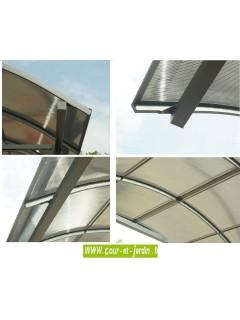 détails du Carport camping car aluminium (362x760) toit polycarbonate 1/2 rond
