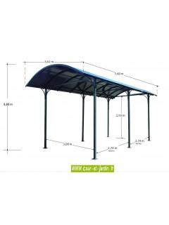 Dimensions du Carport camping car aluminium (362x760)