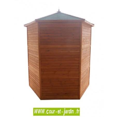 Voliere bois hexagonale PO H23 - vue arrière. Cette volière pour oiseaux ou cage pour oiseaux est en bois non traité