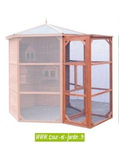 Voliere hexagonale PO H23 - porte d'entrée - cette volière à oiseaux ou cage pour oiseaux est en bois non traité