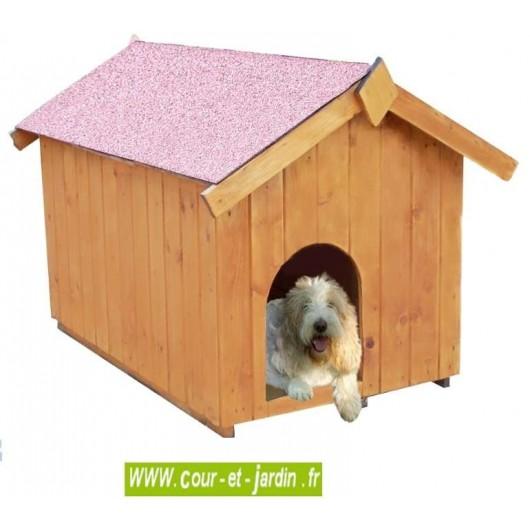 niche pour petit chien de 60x98cm niche bois. Black Bedroom Furniture Sets. Home Design Ideas