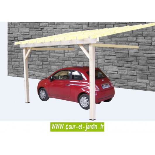 auvent bois mural de terrasse ou abri voiture carport une voiture. Black Bedroom Furniture Sets. Home Design Ideas
