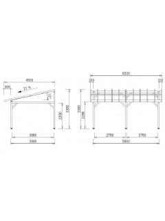 dimensions du Carport bois 2 voitures AV4563BM monopente (4,5x6,32m)