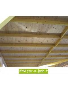 Détail de la couverture en voliges du Carport bois 2 voitures AV4563BM monopente (4,5x6,32m)