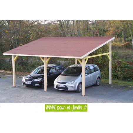 carport 2 voitures bois trait autoclave adoss et pas cher. Black Bedroom Furniture Sets. Home Design Ideas