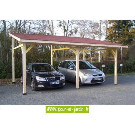 Carport bois 2 voitures AV4563BM monopente (4,5x6,32m)