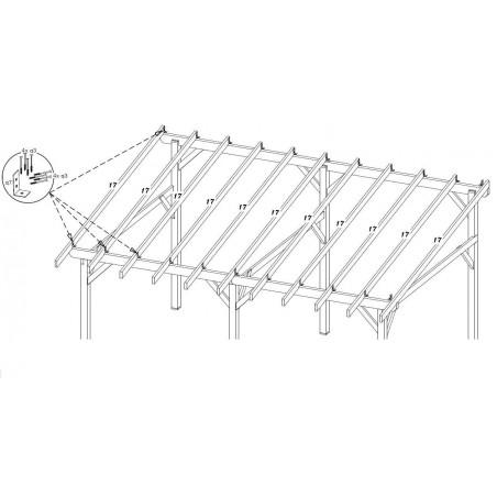 Détail des fixations par équerres des chevrons du Carport AV4563BM (4,5x6,32m)