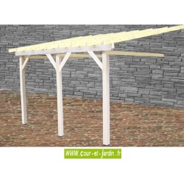 Auvent mural carport AM4563STL 4,5mx6,32m monopente sans couverture