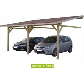 Auvent mural AM4563BM bois, carport adossé de 4,5m x 6,32m . Carport 2 voitures
