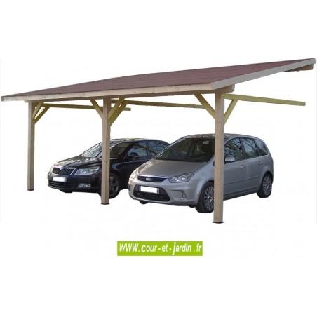 Auvent mural AM4563BM bois, carport adossé avec couverture de 4,5m x 6,32m . Carport 2 voitures
