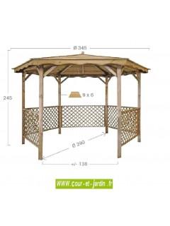 Tonnelle hexagonale LORA en bois- dimensions