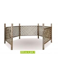 Tonnelle hexagonale LORA en bois- treillis