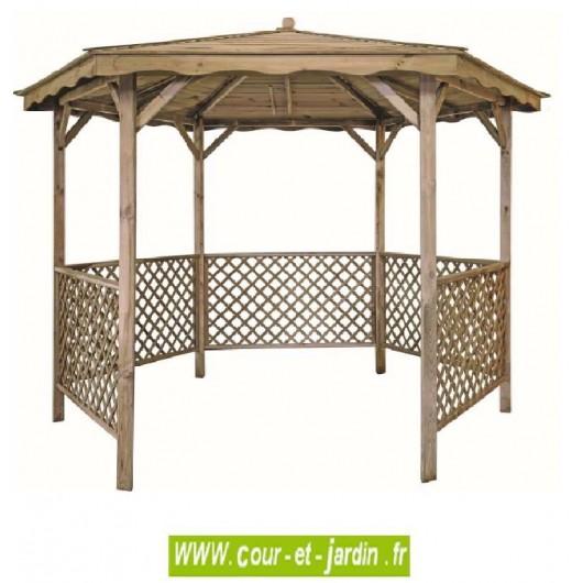 Tonnelle lora hexagonale en bois, Tonnelle hexagonale lora en bois
