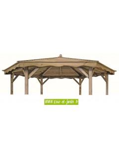 Tonnelle hexagonale LORA en bois- toiture