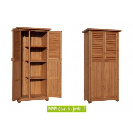 Armoire jardin haute PEDRO.  Cette armoire extérieure ou meuble pour balcon est en bois raboté et lasuré