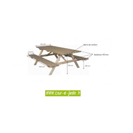 """Dimensions de la Table de pique nique bois  - Table avec banc  s de 2 m de long, dans la catégorie """" table picnic bois """" -"""