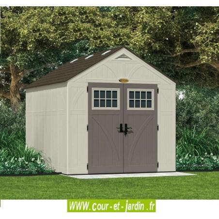 Abri de jardin avec plancher polyéthylène. Ces abris de jardin en résine font 7,90 m²