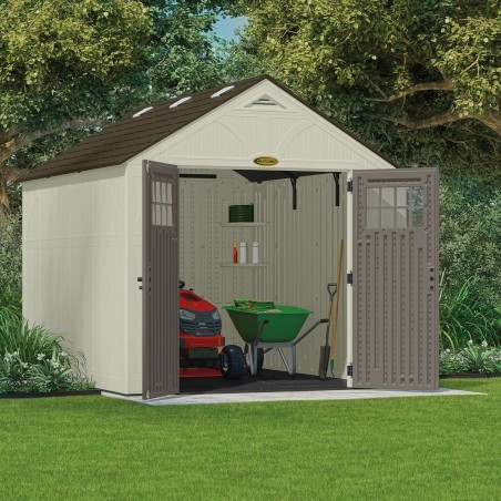 Vue à l'intérieur des abris de jardin avec plancher en polyéthylène 35mm (S:7,90 m²)