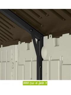 Vue d'un support de toit de l'Abri de jardin resine Suncast Woodgrain