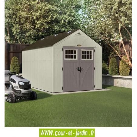 Vue de l'extérieur de l'abri de jardin en resine ou polyéthylène de 10,27 m2 Suncast Woodgrain