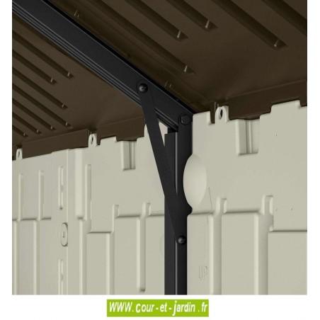 Vue d'un support de toit de l'Abri de jardin resine pas cher Suncast Woodgrain. Ce cabanon resine est doté d'un plancher