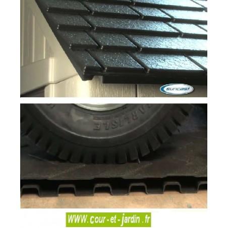 Détails du toit et du plancher de l'abri de jardin en résine pas cher Suncast Woodgrain  de 12,66 m2. Abri velo resine