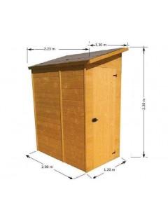 Abri jardin mural ED 1220.02 . Série abris de jardin. Cet abri de jardin bois ou abri adosse a une porte latérale.