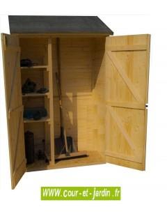 Vue intérieure de l'armoire de rangement en bois ED 1206.01 . Armoire pour jardin