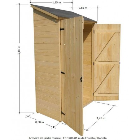 armoire de jardin en bois murale adossable pour rangement. Black Bedroom Furniture Sets. Home Design Ideas
