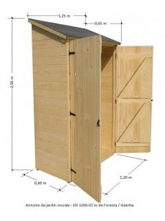 Dimensions de l'armoire murale en bois ED 1206.01. Petite armoire de jardin