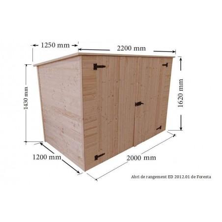 Dim de l' Abri vélos ED2012.01 en bois avec plancher. Abri adossable