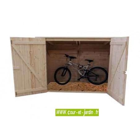Vue intérieure de l'Abri de jardin avec plancher ED2012.01 en bois. Abri velo .