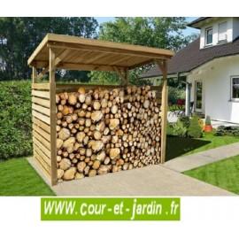 Abri bûches 5 stères multifonction en bois traité ou cache poubelles