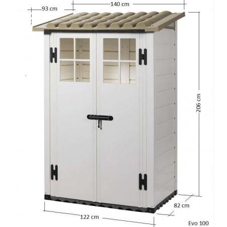 Dimensions de cet Abri de jardin resine : EVO 100  -   Petit abri de jardin en PVC