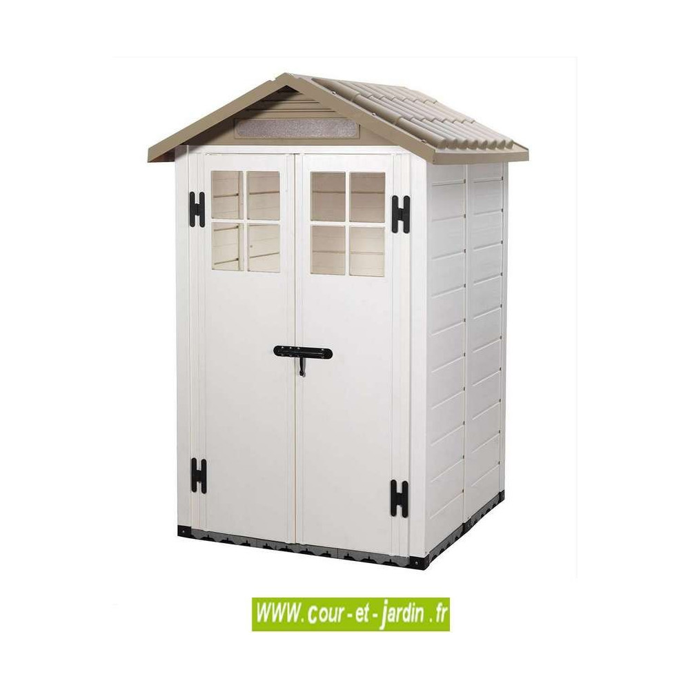 abri de jardin chalet et jardin ... Abri de jardin en résine EVO 120 beige 122x122cm ext. - cabane PVC ...