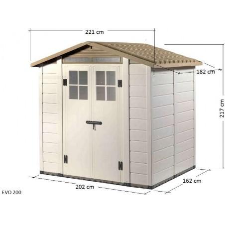 Dimensions de l'abri de jardin en résine EVO 200 - ou - cabane en PVC