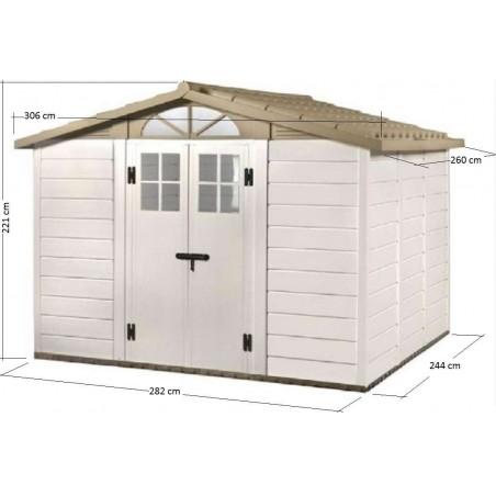 Dimensions de l'abri de jardin pvc pas cher EVO 280 - de la gamme des abris de jardin en resine