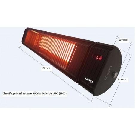 Chauffage infrarouge Solar 3000w noir, à télécommande