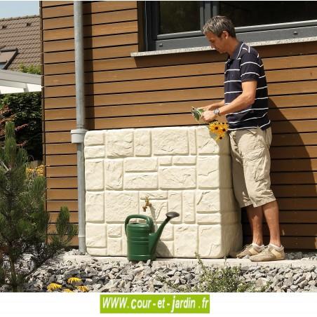 Récupérateur d'eau mural Brik coloris sable avec kit